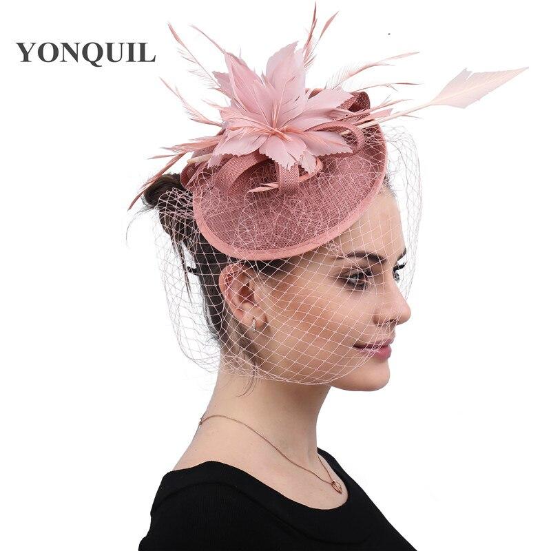 Dark peach feather flower fascinator hats elegant ladies fashion headwear fashion women chic hair accessories charming pary hats
