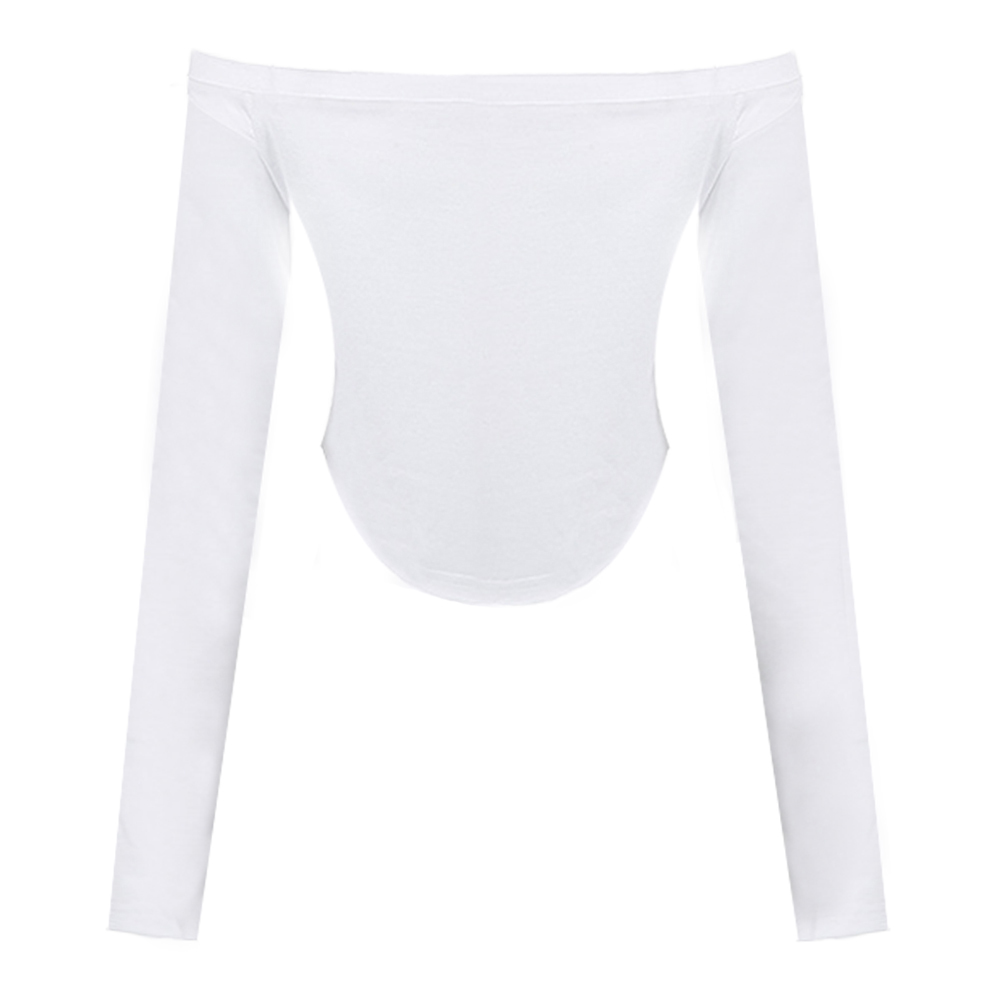 0325ee3458a4af Sexy Women Off Shoulder Crop Top Long Sleeve Basic T Shirt Casual Solid  Slim Cropped Top White Ladies Autumn Fashion Clothing-in T-Shirts from  Women s ...