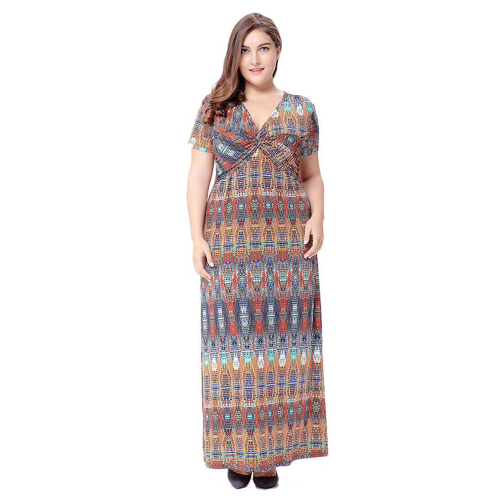 Beach Tunic Print Maxi Dress V-neck Short Sleeve Drapped Sexy Long Dresses Big Size Women Clothing Summer Dress vestido de festa