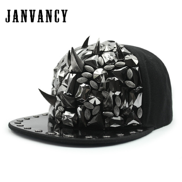 2d349c5ad091f Janvancy Baseball Caps Men Women Hip Hop Bone Snapbacks Rivet Tooth Chain  Wings Punk Shows Festival