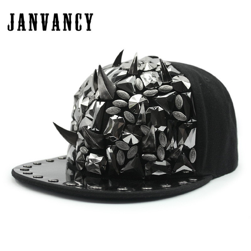 Janvancy Baseball Caps Men Women Hip Hop Bone Snapbacks Rivet Tooth Chain Wings Punk Shows Festival Decoration Luxury Steampunk