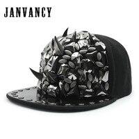 Janvancy Baseball Caps Men Women Hip Hop Bone Snapbacks Rivet Tooth Chain Wings Punk Shows Festival Decoration Luxury Steampunk