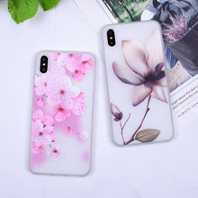 3D CASE For iPhone XS Max Case Relief Flowers Covers For iPhone XR 5S SE 6 6S 7 8 Plus Soft TPU Silicon Back Coques For iPhone X цена и фото