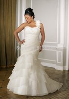 Top Online Mermaid One Shoulder Beading/Pleat Lace Up Organza tiered flowers Plus Size Wedding Dresses 2018 bridal gown