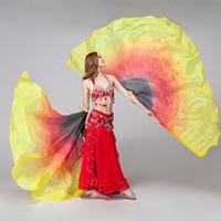 2016 New Performance Dancewear Dance Props1 Pair Half Moon Silk Veil Rainbow Belly Dance Wings 100% Silk Veils