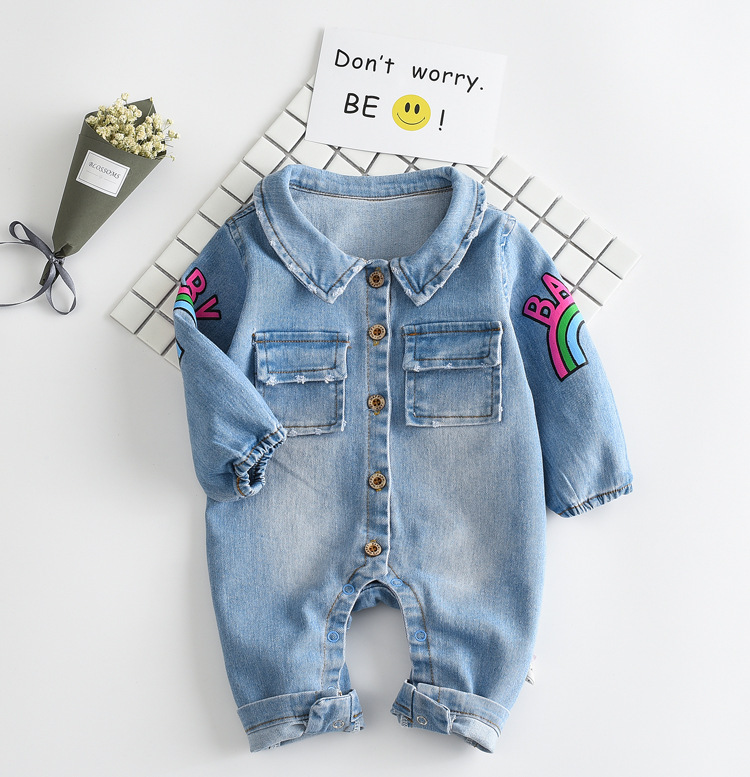 2017 Soft Denim Baby Romper Graffiti Cat Infant Clothes Newborn Jumpsuit Babies Boy Girls Costume Cowboy Fashion Jeans Children