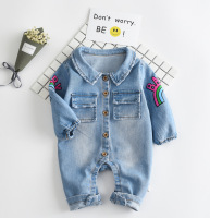 2017 Soft Denim Baby Romper Graffiti Cat Infant Clothes Newborn Jumpsuit Babies Boy Girls Costume Cowboy