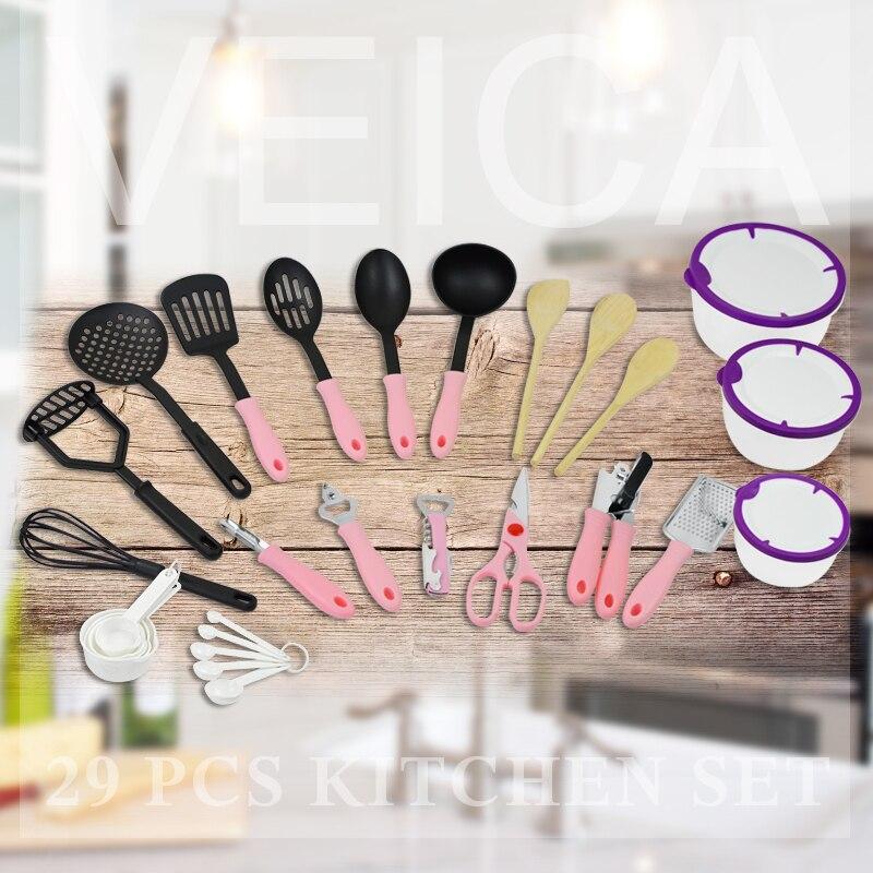 29 pz utensili da cucina speciale antiaderente nylon stoviglie cucchiaio da minestra pala spatola colino set da cucina utensili