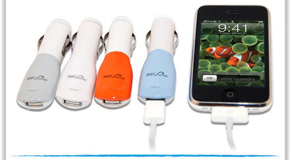 10pcs/lot Car Charger Mini Universal USB Car Charger For Iphone 4G 3GS iPod Free shipping!
