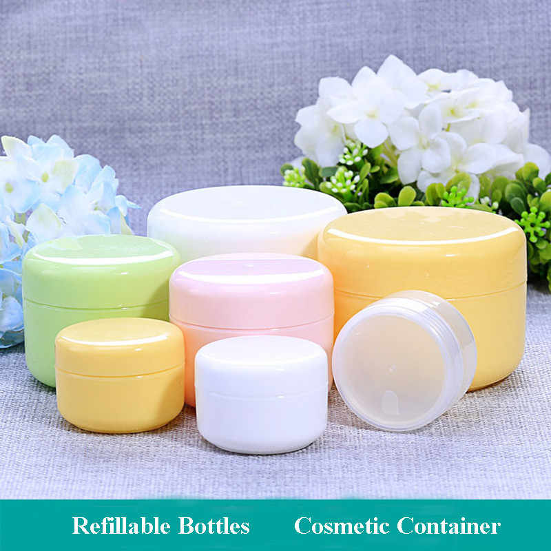 1pc Refillable Bottles Plastic Empty Makeup Jar Pot Travel Face Cream/Lotion/Cosmetic Container 5 Colors 10/20/30/50/100/150g