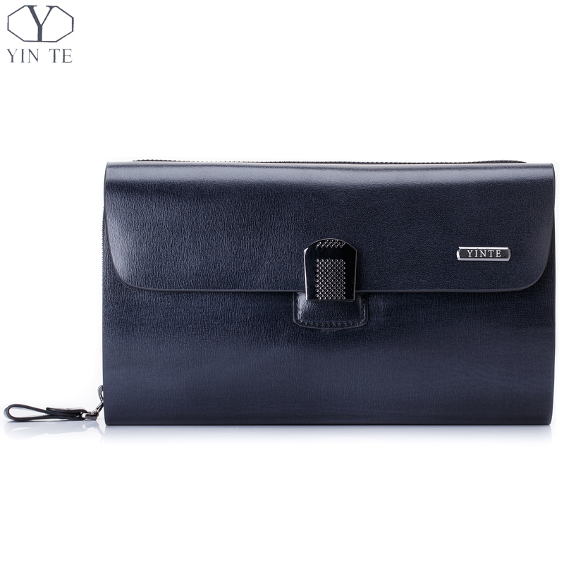 YINTE Fashion Men's Clutch Wallets Leather Purse England Style Blue Clutch Passport Wallet Card Holder Men's Wrist Bags T8006 3