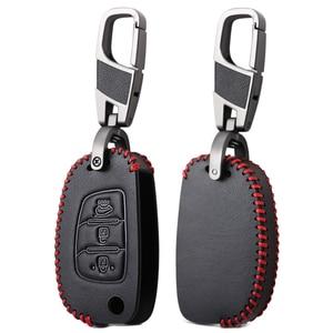 3 Button Leather Car Remote Flip Key Fob Shell Cover Case For Hyundai Creta I10 I20 Tucson Elantra Santa Fe 2016 2017 2018 2019(China)