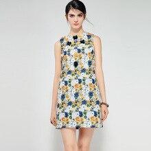 2018 European Pretty Print Women Floral Dress High Quality Sleeveless Above Knee Mini Slim Female 3D