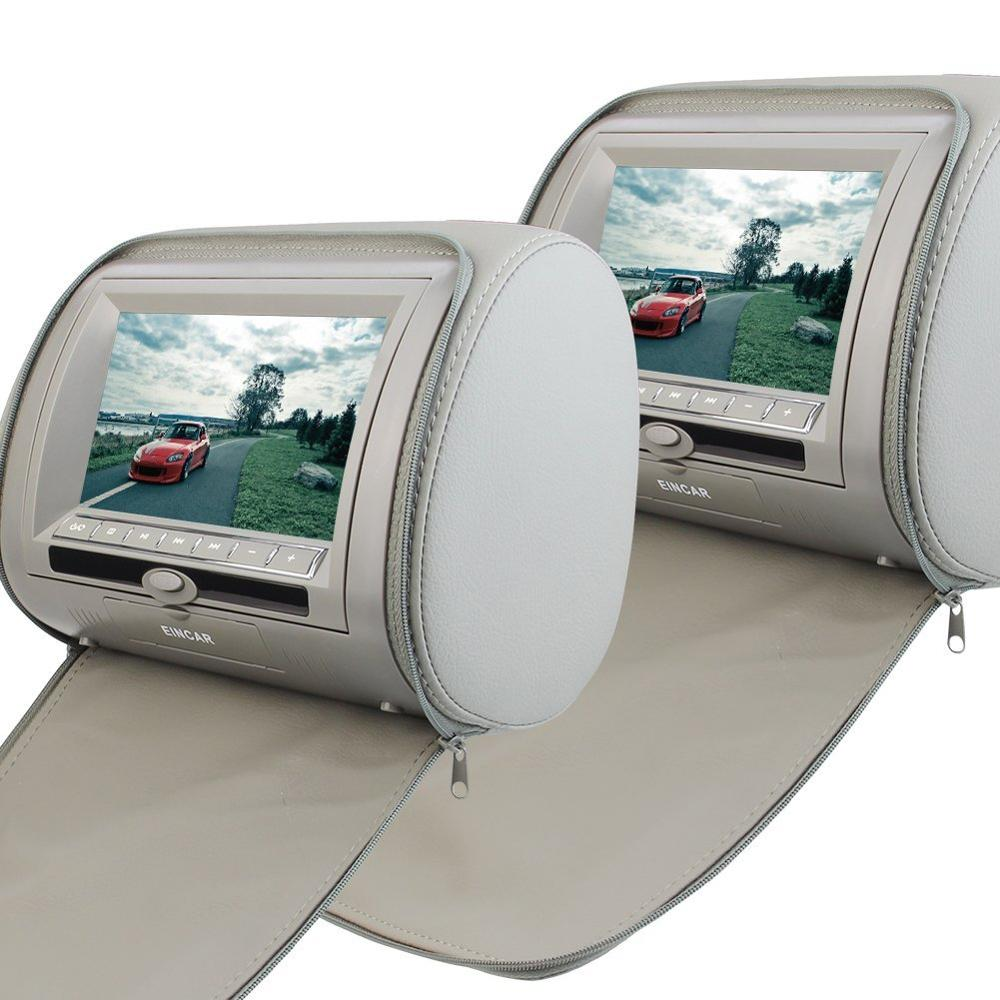 2 PCS Pair of Headrest 7'' LCD Car Pillow Monitor DVD Player 2 Screen USB SD IR FM Transmitter 32 Bit Games--Gray Grey Color eincar car 9 inch car dvd pillow headrest two monitor lcd screen usb sd 32 bit game fm ir multimedia player free 2 ir headphones
