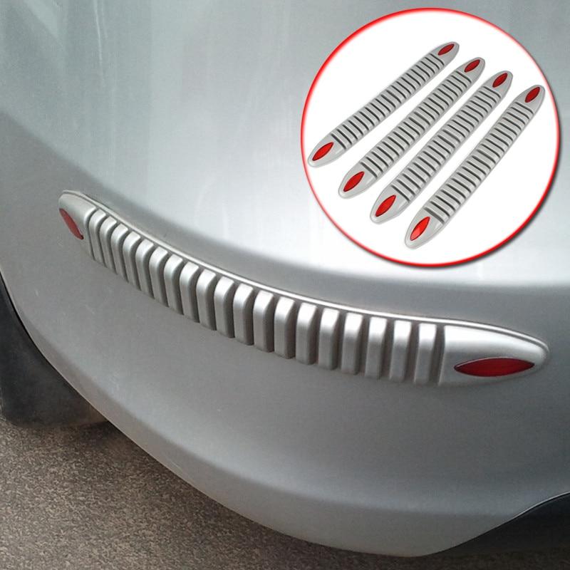 4Pcs Universal Car Body Bumper Protector Decoration Strip Bumper Guard Chrome