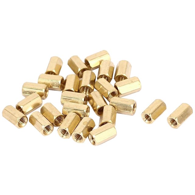 25pcs M4 x 10mm Female Threaded Brass Hex Standoff Pillar Spacer Nut