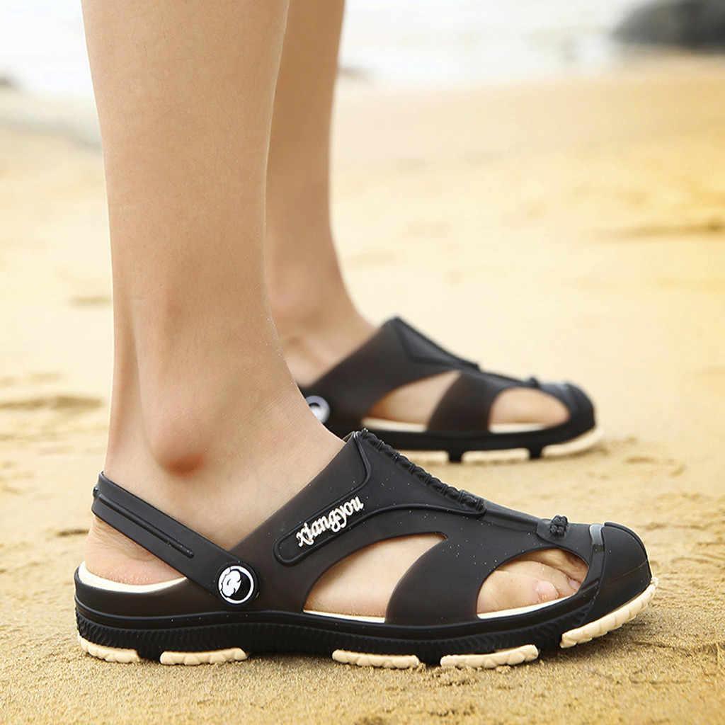 Sagace 2019 Mannen Sandalen Zomer Slippers Schoenen Croc Mode Strand Sandalen Casual Flat Slip Slippers Mannen Holle Schoenen j26