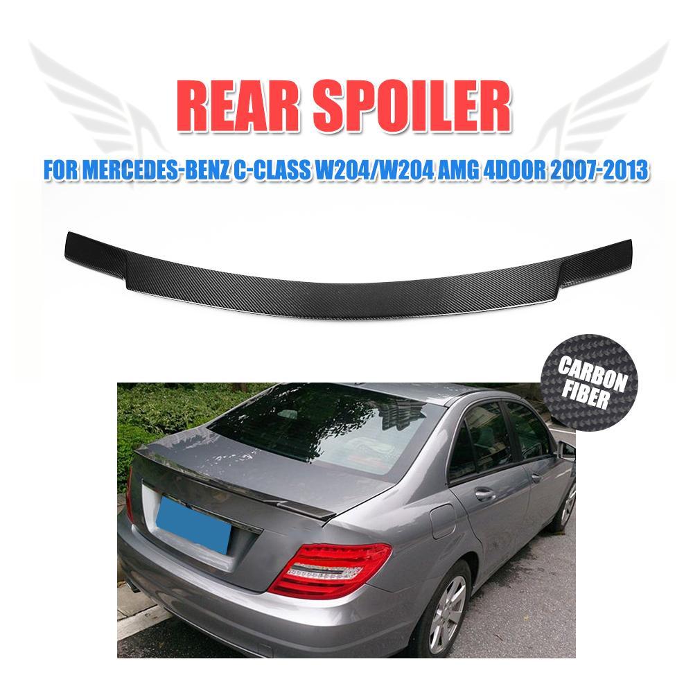 Carbon Fiber Rear Spoiler Boot Duck Lip Wing For Mercedes Benz C-class W204 C200 C250 C300 C350 C63 AMG Sedan 4-Door 2008-2013 carbon fiber rear roof spoiler window wing frp black for mercedes benz c class s205 wagon hatchblack 4 door 15 18 not for amg