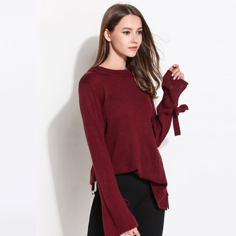 2018 Women Sweaters And Pullovers Lace Up Bow Sleeve Solid Knitted Sweater  O Neck Elegant Women Knitwear Jumper Plus Size T188-in Pullovers from  Women s ... b33e8af67
