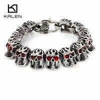 Kalen Punk Jewelry Bracelet 316 Stainless Steel Red Evil Eyes Skull Charm Bracelets Hip Hop Rock