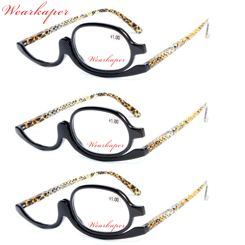 WEARKAPER Fashion Designer 180 Degree Rotating Makeup Reading Glasses Gafas de Lectura Glasses with Diopters