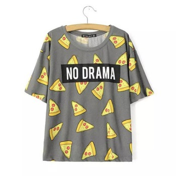 T shirt Women Cute Pizza NO DRAMA Letters Print Short Sleeve Tops Shirts Casual Camisas Femininas Tops YP6 худи xxxtentacion