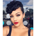 Short Curly Wigs Human Real Hair Wig for Women Fashion Black Color Glueless None Lace Wigs Virgin Brazilian Hair Short Haircuts