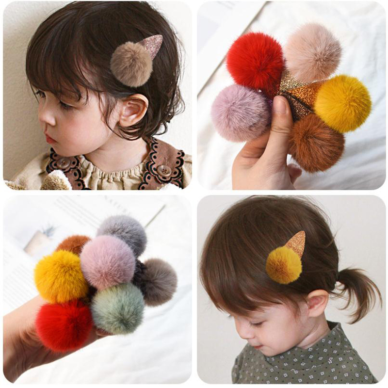 Plush Hairpins Hair-Accessories Girls Headdress Autumn Winter Kids And Big Rubber Female