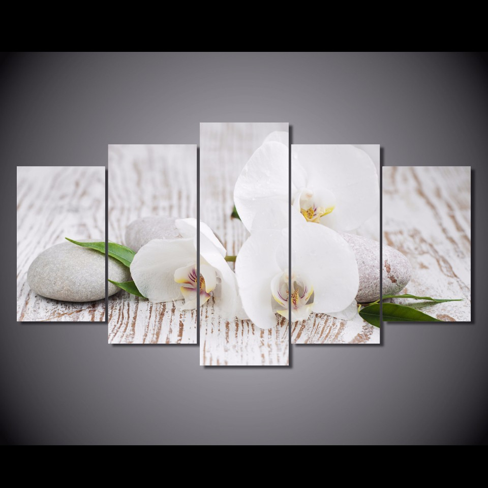 Beautiful 5 Pieces Canvas Prints White orchid pebbles Zen Buddha painting  RY78