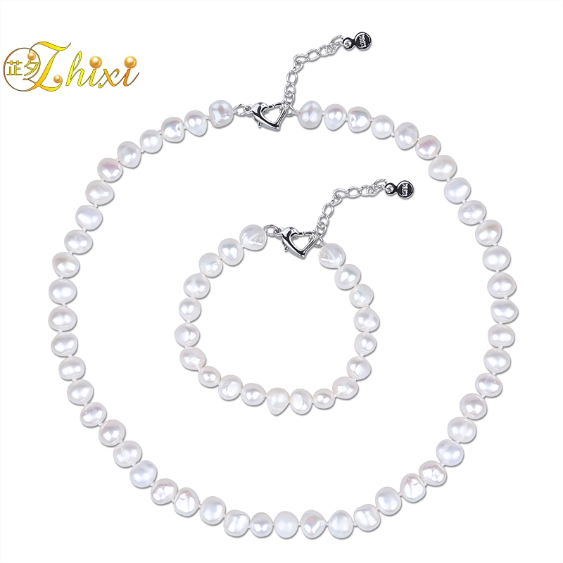 ZHIXI Pearl Jewelry Set Real Natural White Baroque Freshwater Pearl Choker Necklace Bracelet 8 9mm For