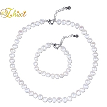 ZHIXI Pearl Jewelry Set Real Natural White Baroque Freshwater Pearl Choker Necklace Bracelet 8-9mm For Women Birthday Gift T242