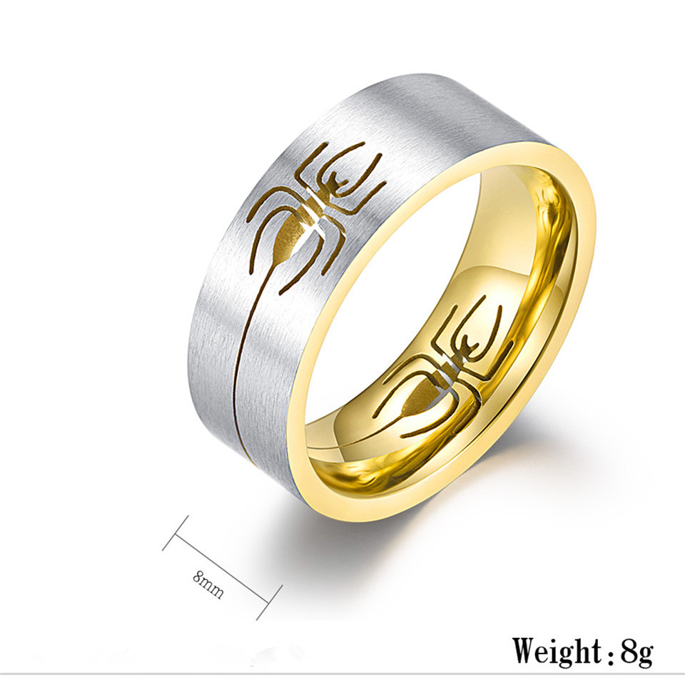Us 5 49 New Brand Spiderman Stainless Steel Rings Gold Black Silver Color Inside Hollow Spider Fashion Rings For Men Women Drop Shipping In