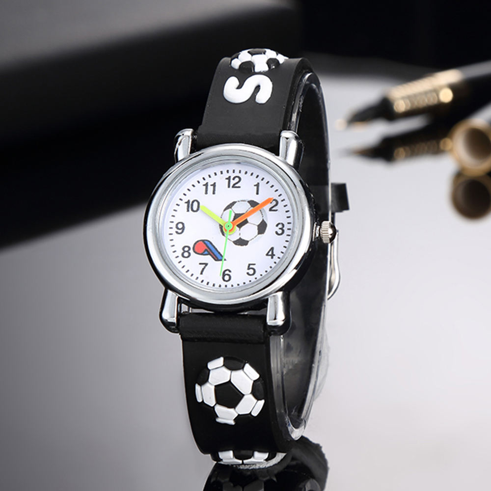 Children's Watches Cartoon 3d Football Silicone Watch Sports Timer Boy Pin Buckle Kid Clock Waterproof Relogio Infantil Menina