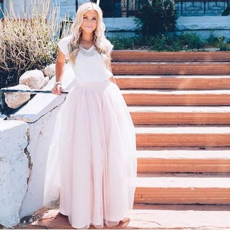 ᗑ】Tul de color rosa claro falda por encargo a línea piso longitud ...