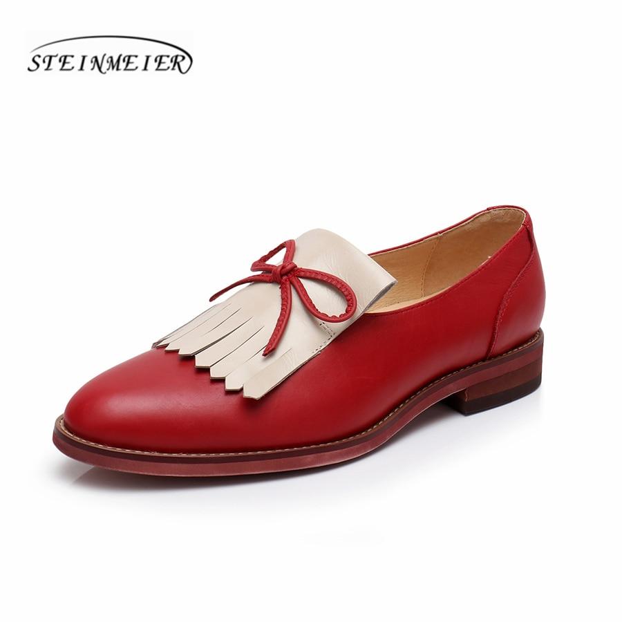 ของแท้หนัง brogues yinzo ผู้หญิงรองเท้า vintage handmade รองเท้า oxford รองเท้าผู้หญิงสีแดงสีฟ้าสีน้ำตาล 2018 ฤดูใบไม้ผลิ-ใน รองเท้าส้นเตี้ยสตรี จาก รองเท้า บน   1