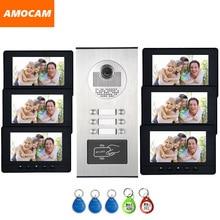 6 Units Apartment intercom system Video Door Phone Door Intercom HD Camera 7″ Monitor video Doorbell 5-RFID Card for 6 Household