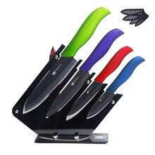 Xyj marca negro hoja cuchillos de cocina 3, 4, 5, 6 pulgadas + soporte de gama alta cuchillo de cerámica de sharp cuchillo pelador 6 unids set venta caliente