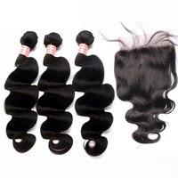 Бразильский девственные волосы с Синтетическое закрытие волос 4 шт./лот Средства ухода за кожей волна Человеческие Волосы Связки с 5x5 Синтет