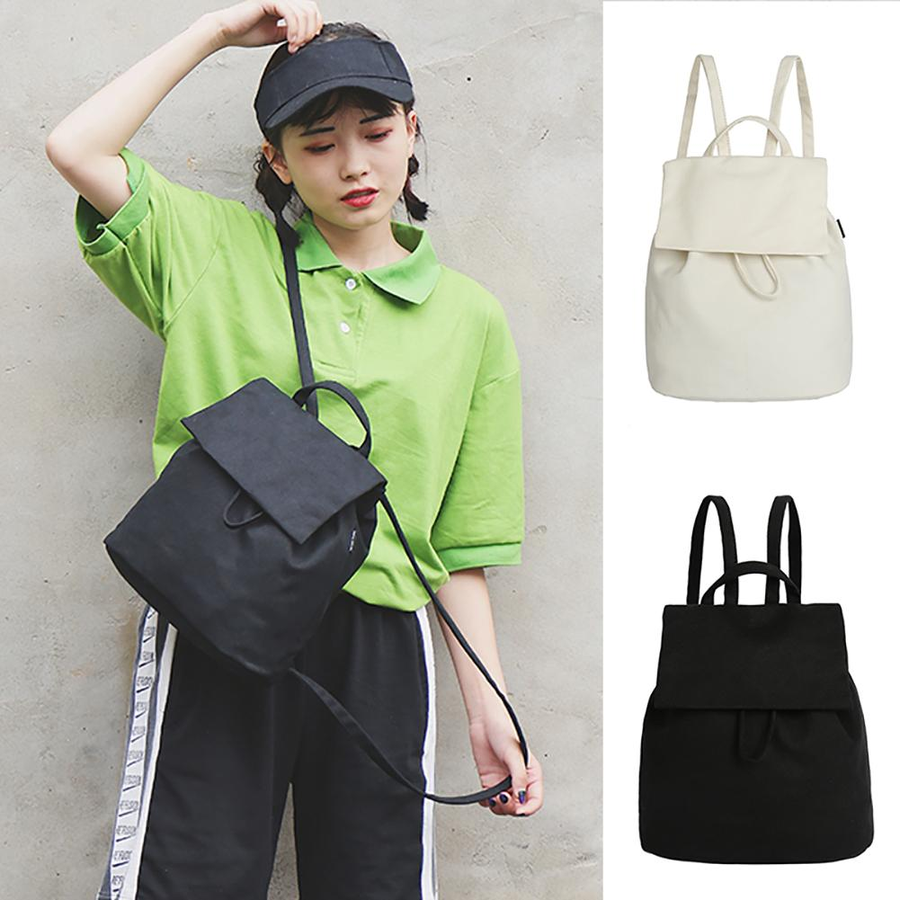 Fashion Simple Solid Color Canvas Drawstring Women Student Travel Casual Backpack Shoulders Bag asymmetrical drawstring color block hoodie