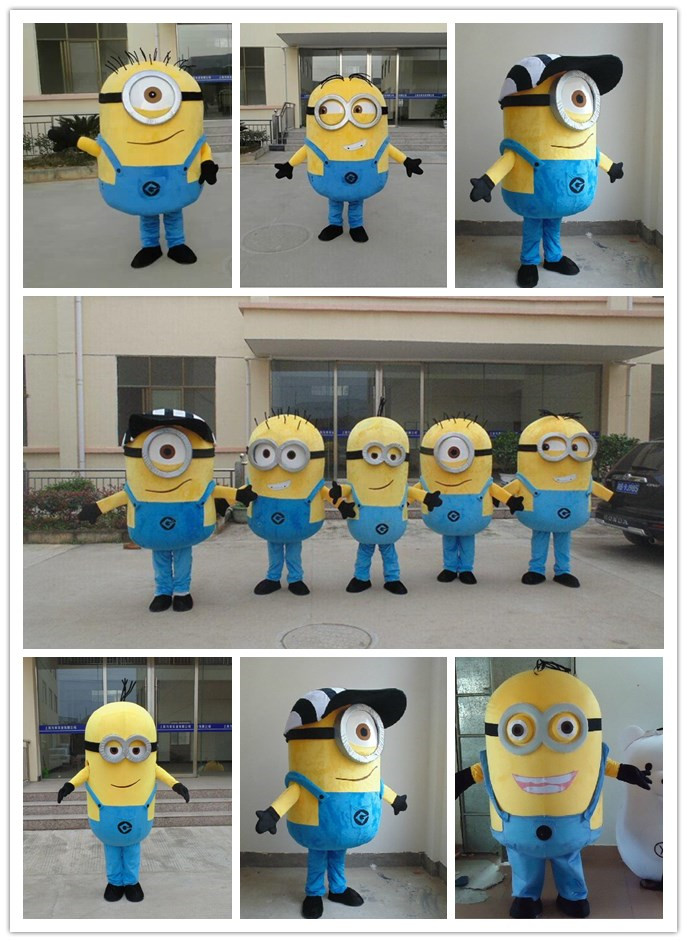 2016 on sale free shipping 9 styles Despicable me minion mascot costume for adults minion mascot