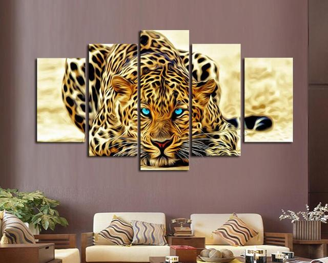 Big size kids wall decor abstract Wall Art Picture living room home decor printed Leopard panther oil Painting on Canvas