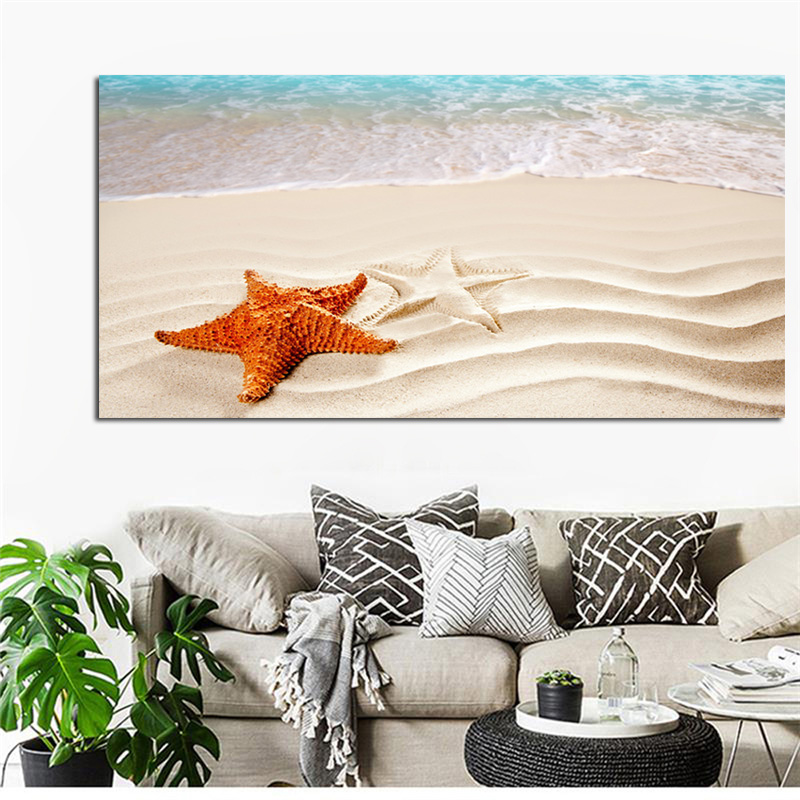 Beach Sea Wave Seascape Starfish Canvas Painting Poster Print Cuadros Scandinavian Modern Nursery Wall Picture for Living Room