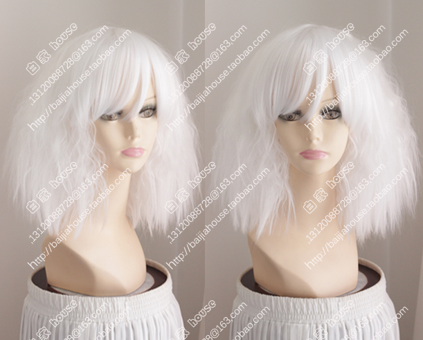 2015 new wig White short curly hair little curly hair european and American  fashion girl wigs Fashion show wig party wigs 749e1c0bf4bf
