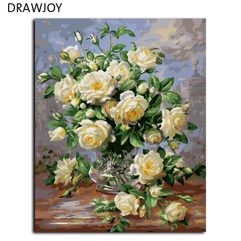Drawjoy Hot Selling Framed Picture Home Decor Flower Painting By Numbers On Canvas Wall Art Flower