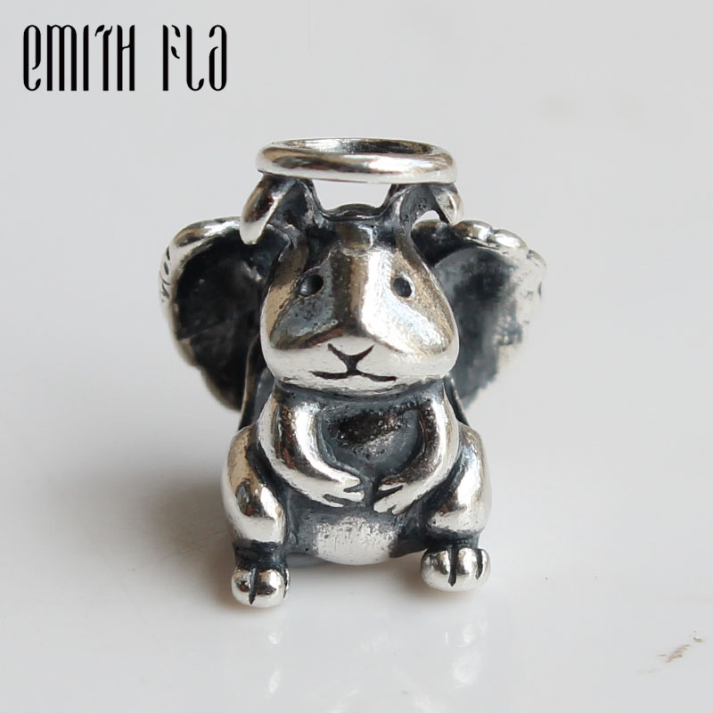 Emith Fla Genuine 925 Sterling Silver Bunny Angel Rabbit Charm Bead Fit Brand Bracelet Jewelry Beads for Jewelry Making