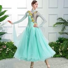 купить Standard Ballroom Dance Dresses Women High Quality Sky Blue Tango Waltz Competition Dancing Skirt Adult Ballroom Dance Dress по цене 6173.79 рублей