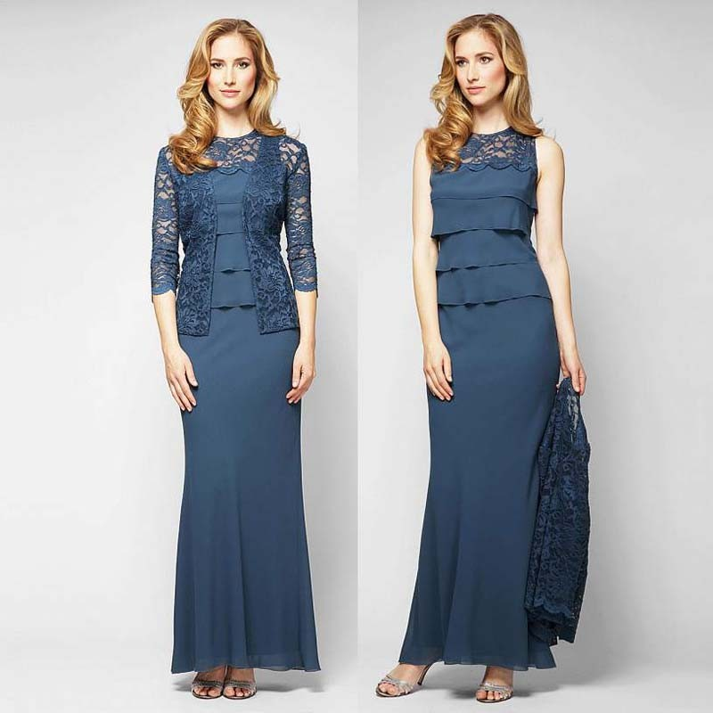Elegant sheath Chiffon Mother Of The Bride Dresses With Lace Jacket Sexy Lace Neck Tiered Mother Dresses 2015 New design