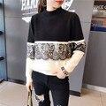 Женская Мода Кружева Украшенные Свободные Длинными Рукавами Свитер