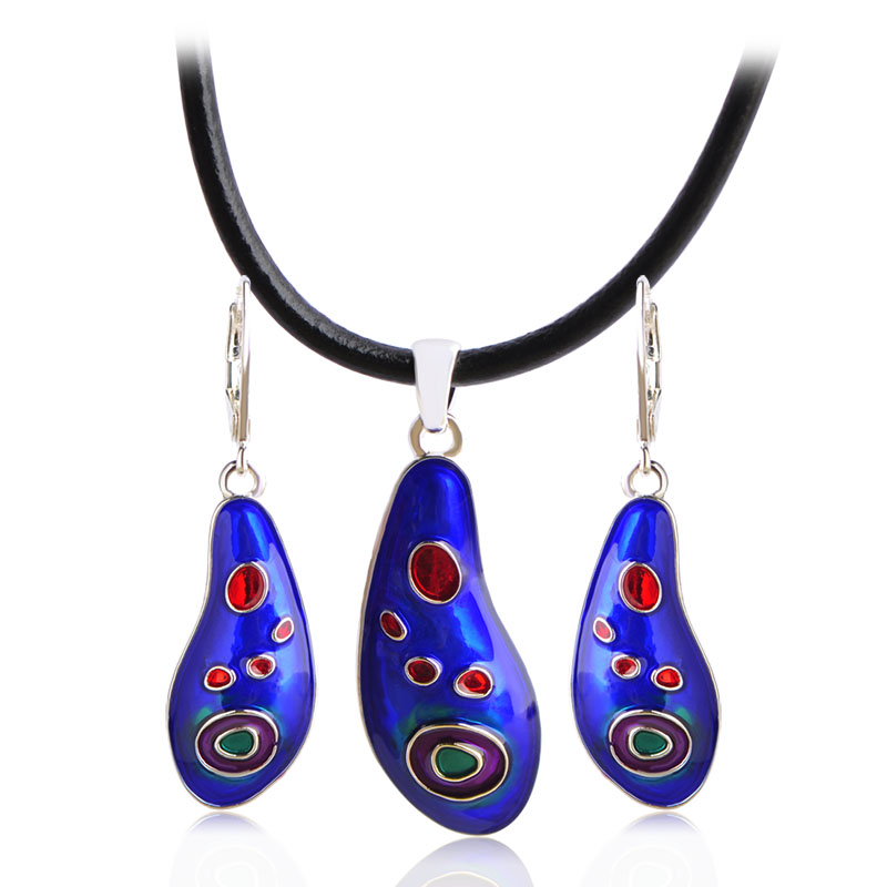 Blucome Fashion Jewelry Sets Enamel Pendant Necklace Earrings For Women Leather Chain Collier Drop Earrings Party Accessories