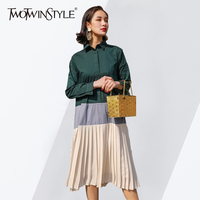 TWOTWINSTYLE Patchwork Dress Female Lapel Collar Long Sleeve Oversize Pleated Shirt Dresses Women 2018 Spring Fashion
